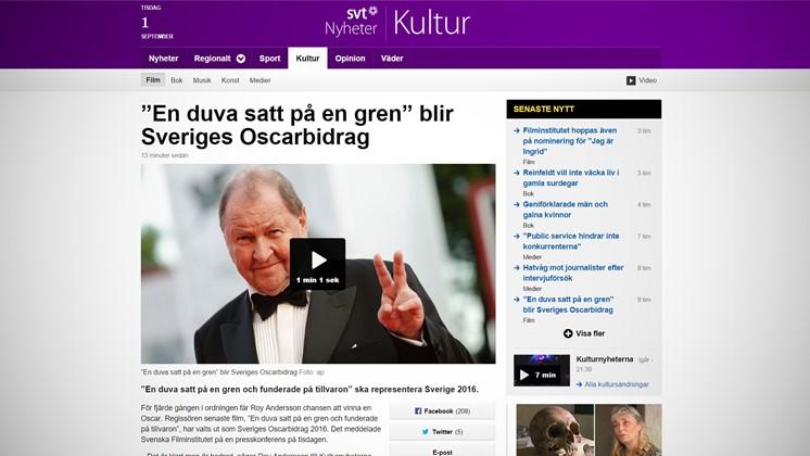 """""""En duva satt på en gren"""" blir Sveriges Oscarbidrag"""