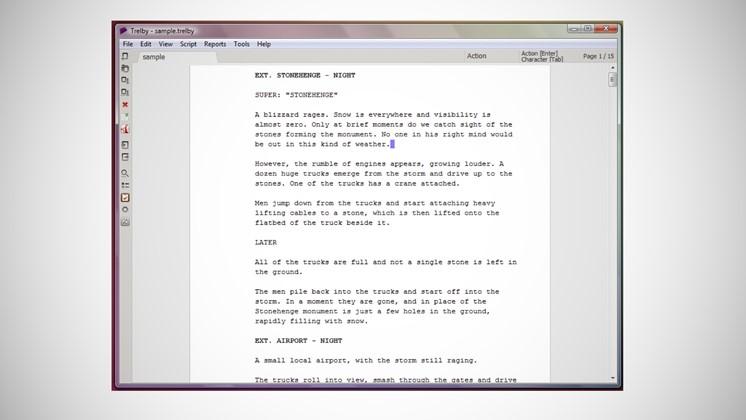 Trelby gratis program för att skriva filmmanus