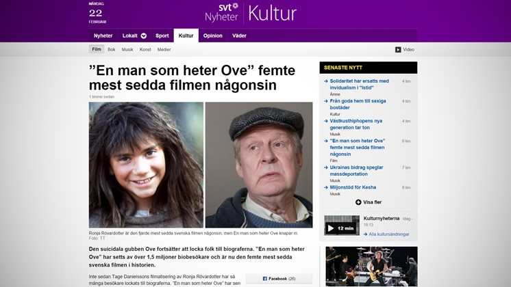 """""""En man som heter Ove"""" femte mest sedda filmen någonsin"""