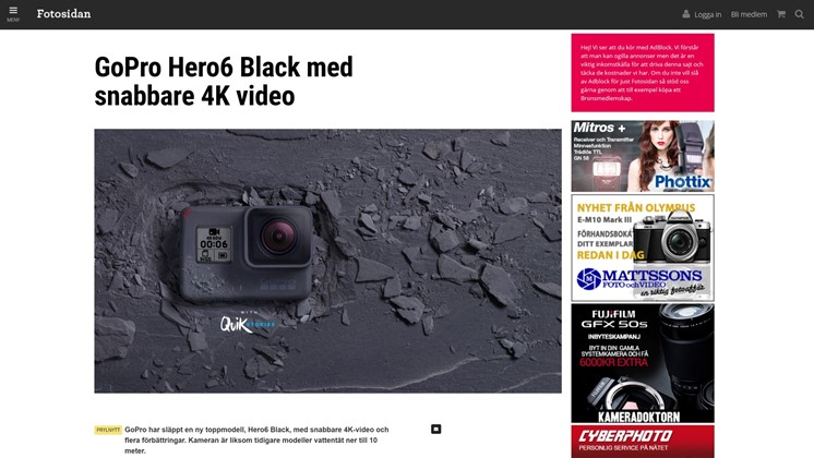 GoPro Hero6 Black med snabbare 4K video