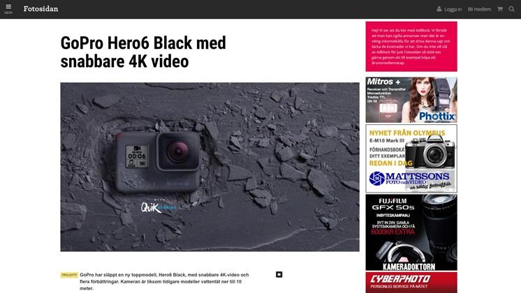 GoPro Hero6 Black med snabbare 4K video