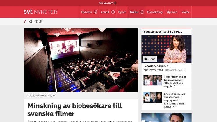 Minskning av biobesökare till svenska filmer