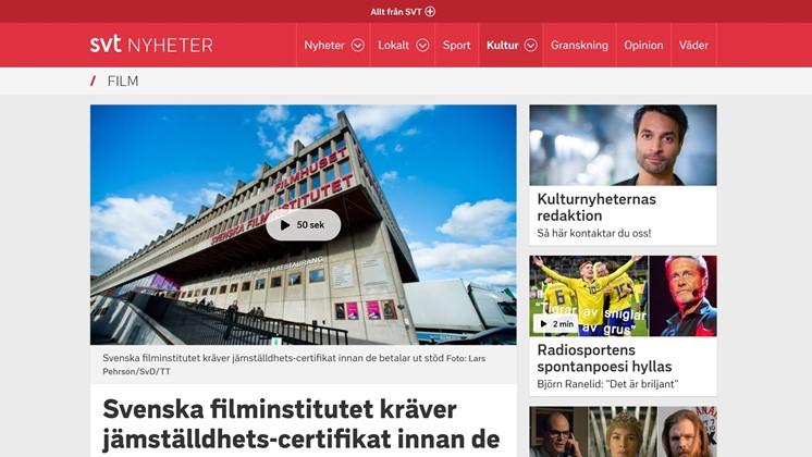 Svenska filminstitutet kräver jämställdhets-certifikat innan de betalar ut stöd