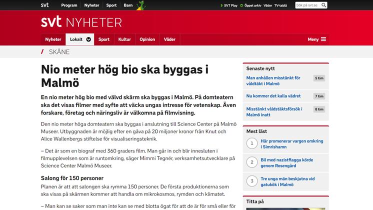 Nio meter hög bio ska byggas i Malmö