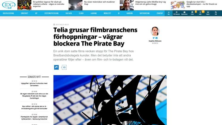 Telia vägrar blockera The Pirate Bay