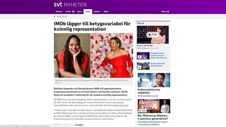 IMDb lägger till betygsvariabel för kvinnlig representation