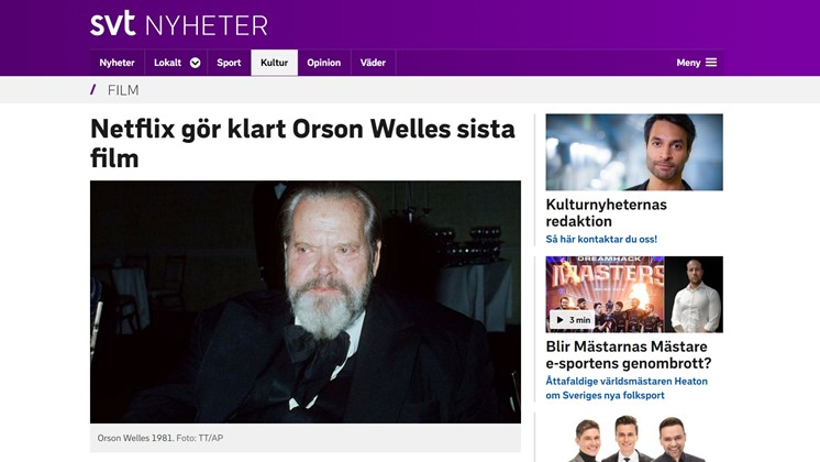 Netflix gör klart Orson Welles sista film