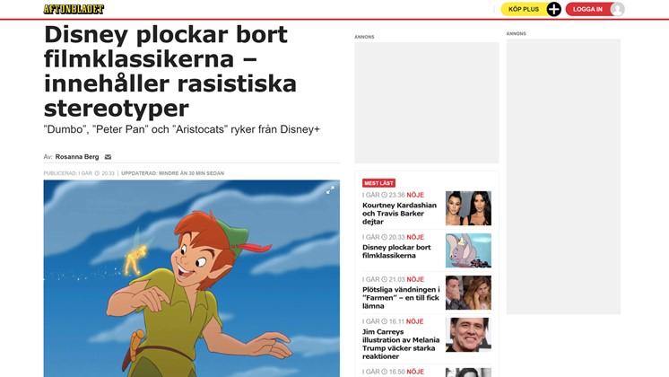 Disney plockar bort filmklassikerna – innehåller rasistiska stereotyper