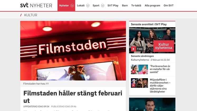 Filmstaden håller stängt februari ut