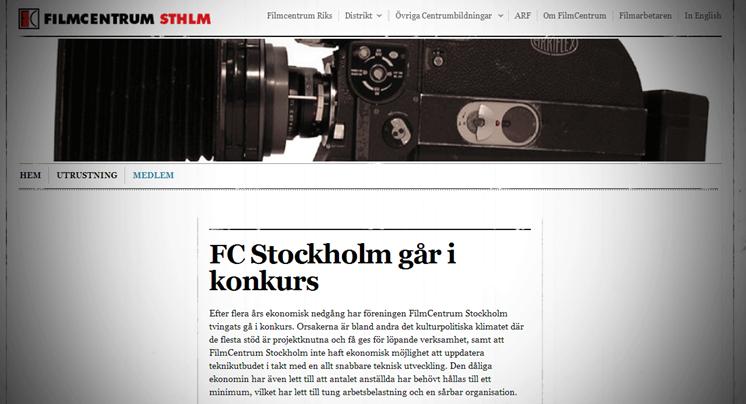Filmcentrum Stockholm går i konkurs