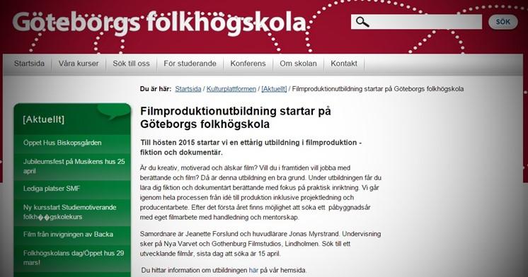 Ny filmutbildning på Göteborgs folkhögskola