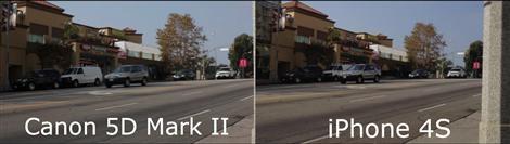 Canon 5D Mark II och iPhone 4S sida vid sida