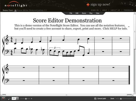Skapa musik online med Noteflight